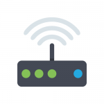 icon showing modem with flashing lights
