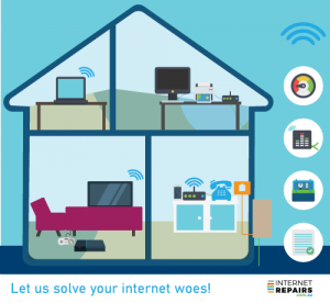 Internet Repairs services - graphic with house and icons illustrating top notch internet service