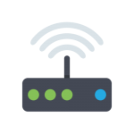 IR Modem installation service - graphic showing green and blue lights on a black modem